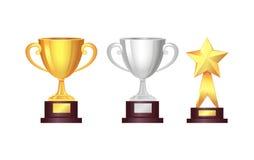 trophy concessões Copo dourado e de prata, vetor da estrela ilustração do vetor