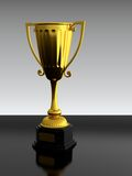 Trophy cup. 3D render of gold trophy cup on black table Stock Images
