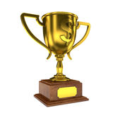 Trophy Cup. Golden Trophy Cup with Dollar Sign vector illustration