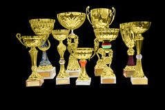 Trophy cup. Golden trophy cup isolated on black royalty free stock photo