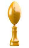Trophy cup with american football ball. Golden trophy cup with american football ball isolated on white background. 3d illustration Royalty Free Stock Image