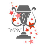 Trophy cup, award, vector icon in flat style. Simple winner symbol. Royalty Free Stock Photos