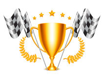 Trophy Cup and Checkered Flags Stock Photo