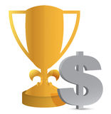 Trophy cup and dollar sign Royalty Free Stock Photography