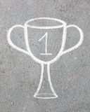 Trophy cup drawn. On the gray background stock photography