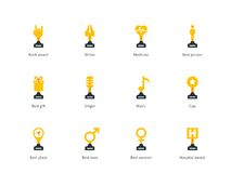 Trophy cup flat color icons on white background. Perfect pictogram collection of sport and event prize cups, writer, vocalist, medic, sport awards, music and Royalty Free Stock Photography