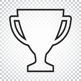 Trophy cup flat vector icon in line style. Simple winner symbol. Royalty Free Stock Photos