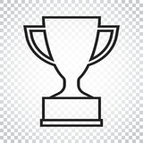 Trophy cup flat vector icon in line style. Simple winner symbol. Stock Photography