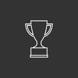 Trophy cup flat vector icon in line style. Simple winner symbol. White illustration isolated on black background Stock Image