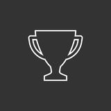 Trophy cup flat vector icon in line style. Stock Photo