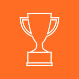 Trophy cup flat vector icon in line style. Simple winner symbol. Stock Images