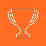 Trophy cup flat vector icon in line style. Simple winner symbol. Royalty Free Stock Image