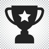 Trophy cup flat vector icon. Simple winner symbol. Black illustr. Ation on isolated background. Simple business concept pictogram Royalty Free Stock Photo