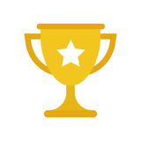 Trophy cup flat vector icon. Simple winner symbol. Gold illustra Stock Photo