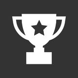Trophy cup flat vector icon. Simple winner symbol. White illustr. Ation isolated on black background Stock Photos