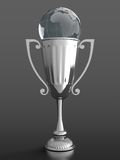 Trophy cup with glass globe. 3D render of silver trophy cup with glass globe on black background Royalty Free Stock Images