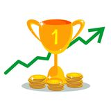 Trophy cup with gold coins in flat style. Trophy cup with with coins in flat style. Icon gold goblet, medieval goblet. Flat symbol cup champion. Concept of Stock Image