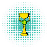 Trophy cup icon, comics style. First place trophy cup icon in comics style on white background Royalty Free Stock Photos