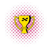 Trophy cup icon, comics style. Trophy cup  icon in comics style  on white background Royalty Free Stock Photography