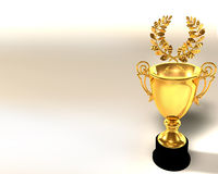Trophy cup and laurel wreath. 3d Illustration of trophy cup and laurel wreath vector illustration