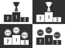 Trophy Cup on prize podium in black and white Stock Image