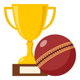 Trophy Cup and Red Cricket Ball Flat Icon. Yellow golden cup flat icon with cricket ball, isolated on white background. Eps file available royalty free illustration