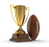 Trophy Cup and rugby Ball (clipping path included) Royalty Free Stock Photos