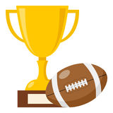 Trophy Cup and Rugby Ball Flat Icon Royalty Free Stock Photos