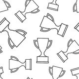 Trophy cup seamless pattern background. Business flat vector ill. Ustration. Award winner symbol pattern Stock Images