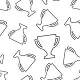 Trophy cup seamless pattern background. Business flat vector ill. Ustration. Award winner symbol pattern Stock Photo