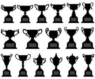 Trophy Cup Silhouette Black Set Royalty Free Stock Photo