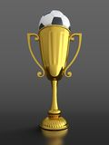Trophy cup with soccer ball. 3D render of gold trophy cup with soccer ball on black background Royalty Free Stock Images