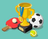 Trophy cup with sport balls. Flat style vector illustration Royalty Free Stock Photo