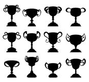 Trophy cup symbol silhouette set Royalty Free Stock Images