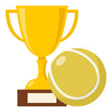 Trophy Cup and Tennis Ball Flat Icon Royalty Free Stock Images