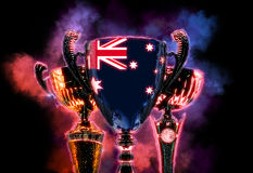 Trophy cup textured with flag of Australia. Digital illustration Stock Image