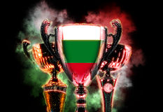 Trophy cup textured with flag of Bulgaria. Digital illustration Royalty Free Stock Images