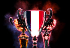 Trophy cup textured with flag of France. Digital illustration Royalty Free Stock Images
