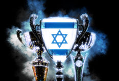 Trophy cup textured with flag of Israel. Digital illustration Royalty Free Stock Image
