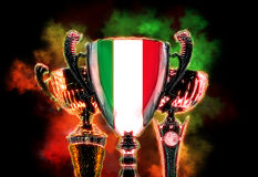 Trophy cup textured with flag of Italy. Digital illustration Stock Images