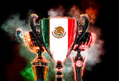 Trophy cup textured with flag of Mexico. 2D Digital illustration Stock Photos