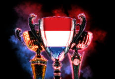 Trophy cup textured with flag of Nederlands. Digital illustration Stock Photography