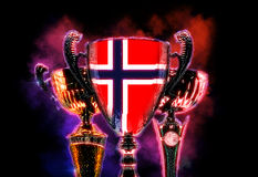 Trophy cup textured with flag of Norway. Digital illustration Stock Photography