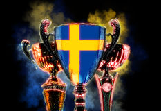 Trophy cup textured with flag of Sweden. Digital illustration Stock Photography