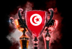 Trophy cup textured with flag of Tunisia. 2D Digital illustratio Royalty Free Stock Image