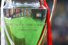Trophy Cup UEFA Champions League. KYIV, UKRAINE – 26 MAY, 2018: Trophy Cup UEFA Champions League during the final match UEFA Champions League between royalty free stock image