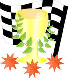 Trophy Cup Vector Flat Icon with star on cyan background Stock Photography