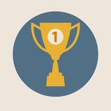 Trophy cup vector icon, flat design. Concept-winning, victory, champion, quality Royalty Free Stock Images
