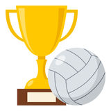 Trophy Cup and Volleyball Ball Flat Icon Royalty Free Stock Photo