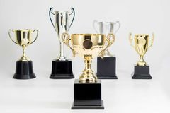 Trophy Cup on white background stock photos
